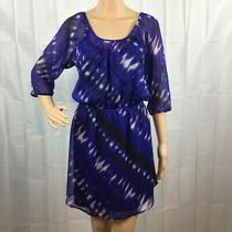 Express Dress Size S Blue Multicolor Print Sheer Overlay Black Tank  Photo