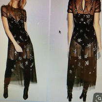 Express Dress Size Xl. Sheer Black Silver Star Dress Photo