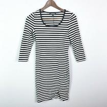 Express Dress Size Xs Black White Stripe Sheath Stretch 3/4 Sleeve Slim Fit Photo