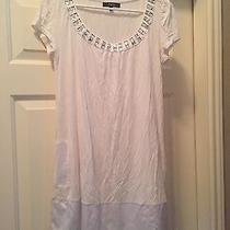 Express Dress White With Rhinestone Collar and Pockets Size M Photo