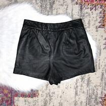 Express Edition Womens Size 10 Black Genuine Leather High Waisted Shorts Nwt Photo