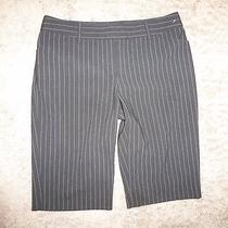 Express Editor Black Striped Bermuda Shorts Size 4 Nice  F1 Photo