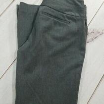 Express Editor Women Sz 4s Inseam 29 Stretch Gray Flat Front Flare Career Pants Photo