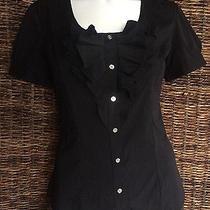 Express  Elite Stretch Black Short Sleeve Ruffle Button Top Blouse Size Xs Photo