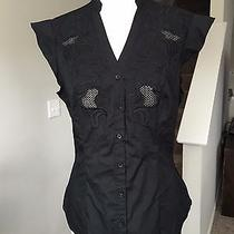 Express Embroidered Crochet Black Floral Blouse Medium Photo
