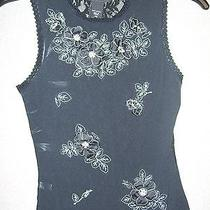 Express Embroidered Mesh and Lace Black Top - Xs Photo