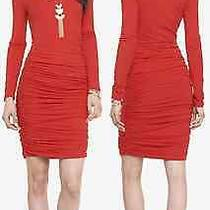 Express Engine Red Long Sleeve Ruched Dress Sz L H473 Photo