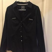 Express Essential Button Up Black Blouse With Silver Accents Medium Photo