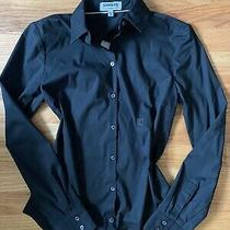Express Essential Shirt Straight Fit Black Button Up Collared Top Sz Xs Photo