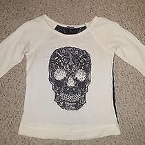 Express Fashions Skull Lace Sweatshirt - Size S Photo