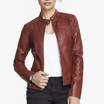 Express Faux Minus Leather Moto Jacket Coat Xsmall Xs Nwt Merlot Dark Red Nwt Photo
