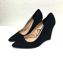 Express Faux Suede Black Wedges Shoes Classic Slip on Dress Heels 9 Vegan Dressy Photo
