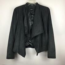 Express Faux Suede Ribbed Details Open Front Lined Blazer Jacket Size Small Gray Photo
