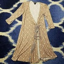 Express Floral Beige 3/4 Sleeve Wrap Around Dress Size Small Photo