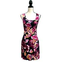 Express Floral Fit & Flare Midi Dress Black Red 6 Photo