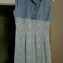 Express Floral Jean Dress Size M.   Photo