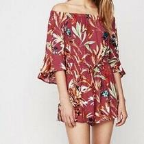 Express Floral Romper Shorts Dress Off Shoulder New Small S Womens Tropical Photo