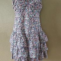 Express Floral Strapless Ruched Tiered Cotton Dress Size M Photo