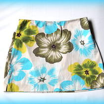 Express Floral Stretch Mini Skirt Sz 3/4 Photo