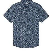 Express Floral Wrinkle-Resistant Performance Dress Shirt Blue Men's (L) Photo