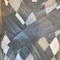 Express for Men Grey White Argyle v-Neck Sweater Used Size Large Photo