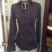 Express-Form Fitting Purple & Black Striped Fitted Top-Sz-Sm Photo