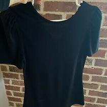 Express Form Fitting Top Black Puff Sleeves Photo