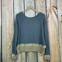 Express Gold Metallic Trim Pullover Sweater Medium Photo