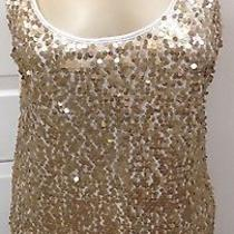Express Gold Sequins Over White Netting Blouse. Size L. Nwt Photo