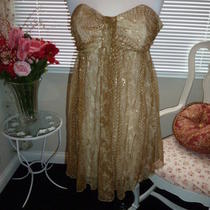 Express Gold Strapless Dress Size 2 Photo