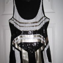 Express Gorgeous Black White Sequin Geometric M Print Tank Top Euc Photo