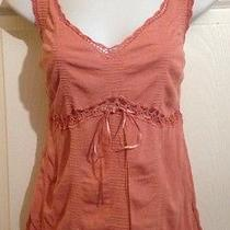 Express Gorgeous Coral Pink Crochet Knit Shirt Medium Large Photo