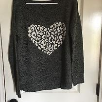 Express Graphic Leopard Heart Sweater Grey White Size Small Photo