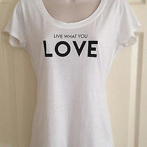 Express Graphic Tee Live What You Love Sz M White Short Sleeve T-Shirt Top  Photo