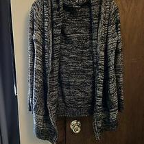 Express Gray/black Hooded Cardigan Sweater Size Small Photo