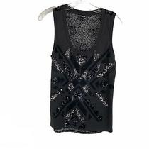 Express Gray Black Sequin Sexy Lace Back Scoop Neck Tank Top Womens Size Small S Photo
