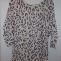 Express Gray & Cream Cheetah Print Wide Neck W/ Drawstring Bottom Top/s/p Photo