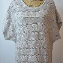 Express Gray Gold Thin Cable-Knit Short Sleeve Mohair Blend Sweater Dress Size L Photo