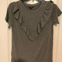 Express Gray Ruffled Bodice Shirt - Size Xs Photo
