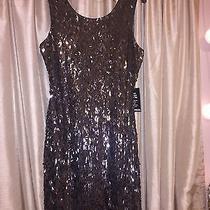Express Gray Sequin Scoop Back Dress Photo