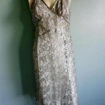 Express Gray Silver Metallic Lace Sequins Halter Dress Size 8 Photo