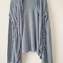 Express Gray Sweater Open Front Waterfall Long Sleeve Cardigan Size Xs Photo