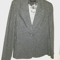 Express Gray Tweed Long Sleeve v-Neck Button Front Blazer Coat Womens Size 7/8 Photo