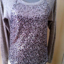 Express Gray With Silver Sequins Scoop Neck Sweater Sz Xs Photo