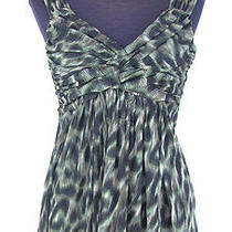 Express Green & Black Animal Print Mesh Layered Tank - Size Medium Photo