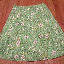 Express Green Floral a-Line Pure Cotton Skirt Size 0 Lined Knee Length Photo