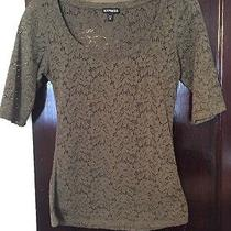 Express Green Lace Shirt Xs Scoop Neck 3/4 Sleeves Photo