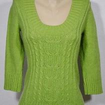 Express Green Wool/acrylic Blend Scoop Neck Sweater Small 3/4 Sleeves Cableknit Photo