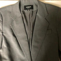 Express Grey/black Women's Blazer Suit Jacket - Size 3-4 Photo