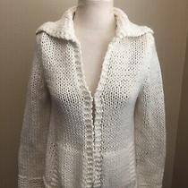 Express Hand Knit Ivory Chunky Wool Blend Cropped Cardigan Sweater Size Xs Photo